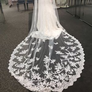 Cathedral Veil with Sequined Lace Appliques-ivory